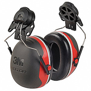25dB Hard Hat Mounted Ear Muffs, Black, Red