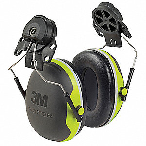 Black/Chartreuse Cap-Mounted Ear Muff, Noise Reduction Rating NRR: 25dB, Dielectric: No