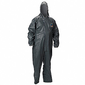 Hooded Chemical Resistant Coveralls with Elastic Cuff, Pyrolon® CRFR Material, Gray, 2XL
