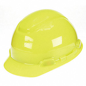 Front Brim Hard Hat, 4 pt. Pinlock Suspension, Bright Yellow, Hat Size: 6-1/2 to 8""