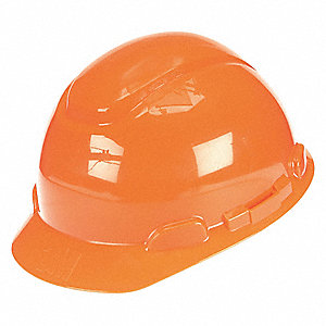 Front Brim Hard Hat, 4 pt. Ratchet Suspension, Bright Orange, Hat Size: 6-5/8 to 7-3/4