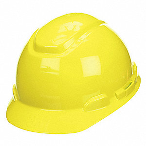 Hard Hat with Uvicator  Sensor, 4 pt. Ratchet Suspension, Bright Yellow, Hat Size: 6-5/8 to 7-3/4