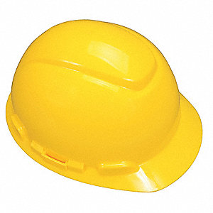 Front Brim Hard Hat with Uvicator  Sensor, 4 pt. Ratchet Suspension, Yellow, Hat Size: 6-5/8 to 7-3/