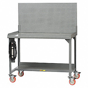 "Workbench with Panel, Steel, 28-3/4"" Depth, 36"" Height, 72"" Width, 1200 lb. Load Capacity"