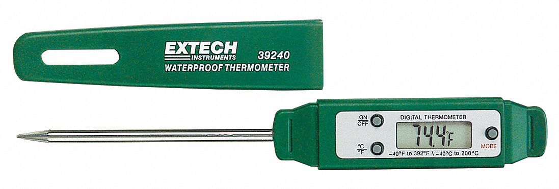 Item Digital Pocket Thermometer,  Temp. Range (F) -40 to 392°F,  Temp. Range (C) -40 to 200°C