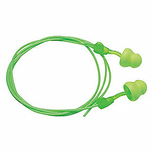 30dB Disposable Pod Shape Ear Plugs&#x3b; Corded, Green, Universal