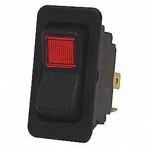 "Rocker Switch, Contact Form: SPST, Number of Connections: 3, Terminals: 0.250"" Quick Connect Tab"