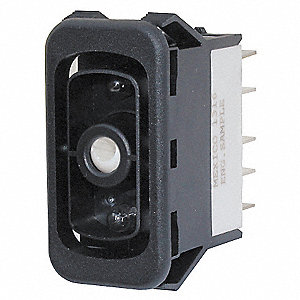 "Rocker Switch, Contact Form: SPST, Number of Connections: 5, Terminals: 0.250"" Quick Connect Tab"