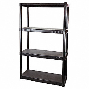 "34-1/4"" x 14-1/4"" x 55-1/4"" Freestanding Polypropylene Shelving Unit, Black"