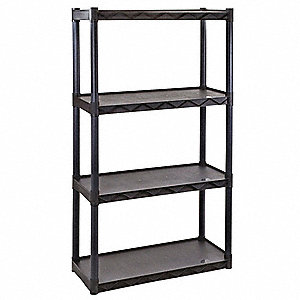 "34-1/4"" x 14-1/4"" x 56-1/2"" Freestanding Polypropylene Shelving Unit, Dark Gray"