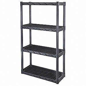 "34-1/4"" x 14-1/4"" x 56-1/4"" Freestanding Polypropylene Interlocking Shelving, Dark Gray"
