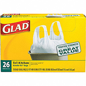 13 gal. Extra Heavy Trash Bags, White, Flat Pack of 26