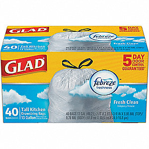 13 gal. Extra Heavy Trash Bags, White, Coreless Roll of 40