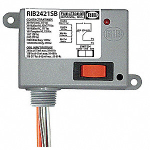 Enclosed Pre-Wired Relay, 24VAC/DC, 120/208 to 277VAC Coil Volts, SPST Contact Form