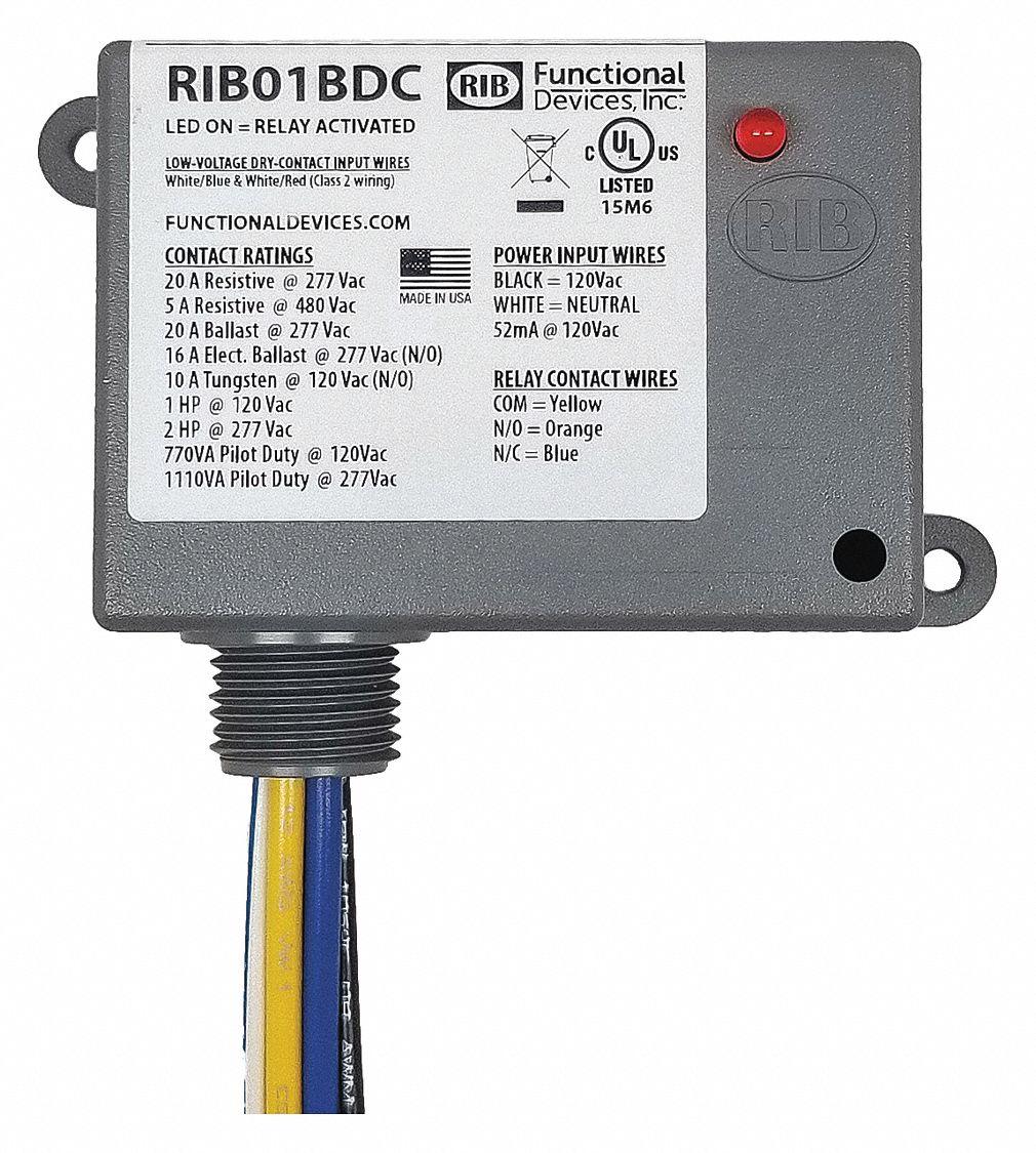 Functional Devices Inc Rib Prewired Relay 120v Ac 20a 277v Spdt 21gp41 Rib01bdc Grainger