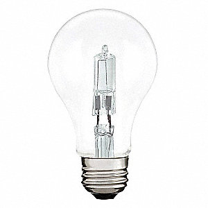 29 Watts Halogen Lamp, A19, Medium Screw (E26), 380 Lumens, 2790K Bulb Color Temp.