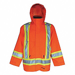 RAIN JACKET, 300D, HI-VIS, ORANGE, MD