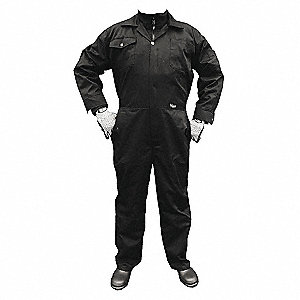 COVERALL POLY/COTTON BLK 2XL