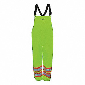 Rain Bib Overall, High Visibility: No, ANSI Class: Class E, Polyester, 3XL, Yellow/Green