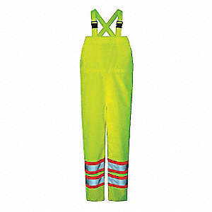RAIN BIB PANTS, 150D, HI-VIS, GREEN, XL