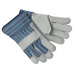 Cowhide Leather Work Gloves, Safety Cuff, Blue with Black and Yellow Stripes, Size: 2XL, Left and Ri