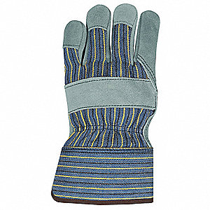 Cowhide Leather Work Gloves, Safety Cuff, Blue with Black and Yellow Stripes, Size: L, Right Only Ha