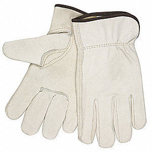 Cowhide Leather Work Gloves, Slip-On Cuff, Cream, Size: 3XL, Left and Right Hand