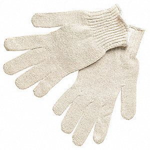 Natural Knit Gloves, Polyester/Cotton, Size L, 7 Gauge