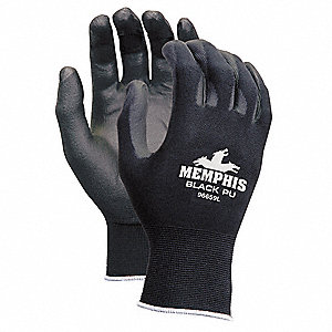 13 Gauge Flat Polyurethane Coated Gloves, Size M, Black/Black
