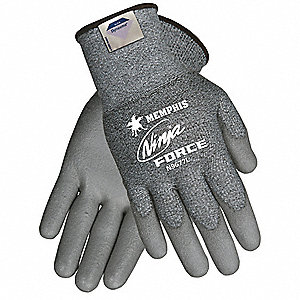 Polyurethane Cut Resistant Gloves, ANSI/ISEA Cut Level A3, HPPE Lining, Gray, S, PR 1