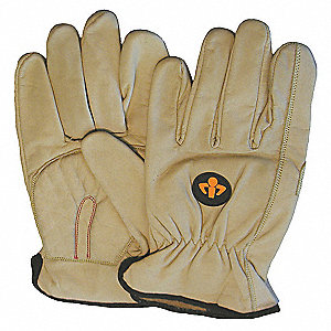 Anti-Vibration Carpal Tunnel Gloves, Leather Palm Material, Yellow, 1 PR