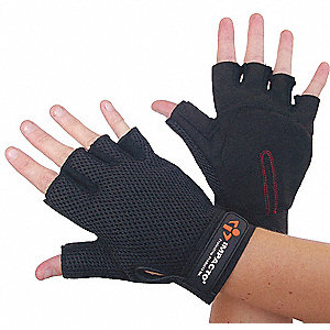 Anti-Vibration Carpal Tunnel Gloves, Amara Palm Material, Black, 1 PR