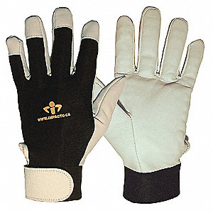 Anti-Vibration Gloves, Leather Palm Material, Black, White, 1 PR