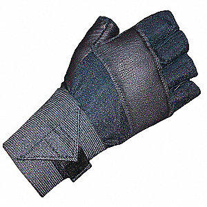 Anti-Vibration Gloves, Leather Palm Material, Black, 1 EA