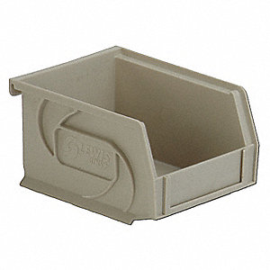"Hang and Stack Bin, Stone, 5-3/8"" Outside Length, 4-1/8"" Outside Width, 3"" Outside Height"
