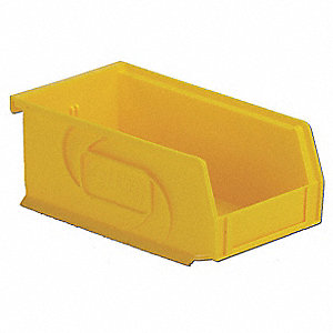 "Hang and Stack Bin, Yellow, 7-3/8"" Outside Length, 4-1/8"" Outside Width, 3"" Outside Height"