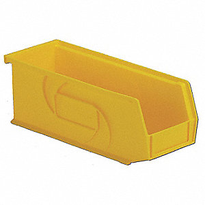 Hang/Stack Bin,4Hx4-1/8Wx10-7/8D,Yellow