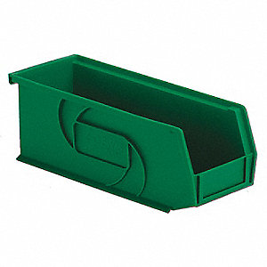 "Hang and Stack Bin, Green, 10-7/8"" Outside Length, 4-1/8"" Outside Width, 4"" Outside Height"