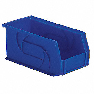 "Hang and Stack Bin, Blue, 10-7/8"" Outside Length, 5-1/2"" Outside Width, 5"" Outside Height"
