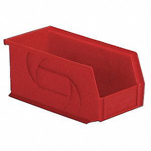 "Hang and Stack Bin, Red, 10-7/8"" Outside Length, 5-1/2"" Outside Width, 5"" Outside Height"