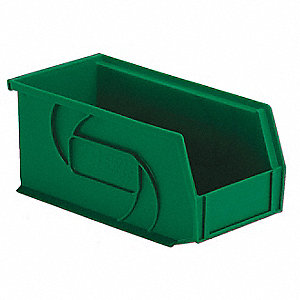 "Hang and Stack Bin, Green, 10-7/8"" Outside Length, 5-1/2"" Outside Width, 5"" Outside Height"