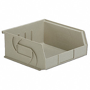 "Hang and Stack Bin, Stone, 10-7/8"" Outside Length, 11"" Outside Width, 5"" Outside Height"