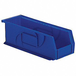 "Hang and Stack Bin, Blue, 14-3/4"" Outside Length, 5-1/2"" Outside Width, 5"" Outside Height"