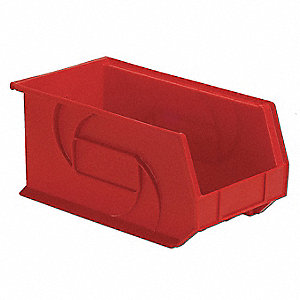 Hang/Stack Bin,7Hx8-1/4Wx14-3/4D,Red