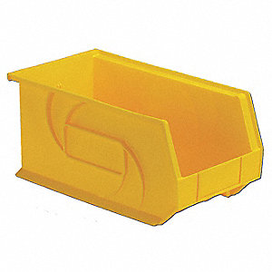 "Hang and Stack Bin, Yellow, 14-3/4"" Outside Length, 8-1/4"" Outside Width, 7"" Outside Height"