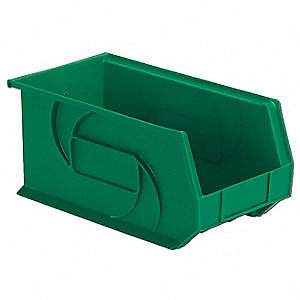 "Hang and Stack Bin, Green, 14-3/4"" Outside Length, 8-1/4"" Outside Width, 7"" Outside Height"