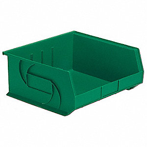 "Hang and Stack Bin, Green, 14-3/4"" Outside Length, 16-1/2"" Outside Width, 7"" Outside Height"