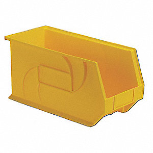 "Hang and Stack Bin, Yellow, 18"" Outside Length, 8-1/4"" Outside Width, 9"" Outside Height"