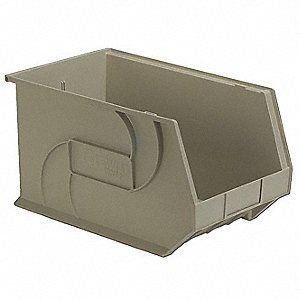 "Hang and Stack Bin, Stone, 18"" Outside Length, 11"" Outside Width, 10"" Outside Height"