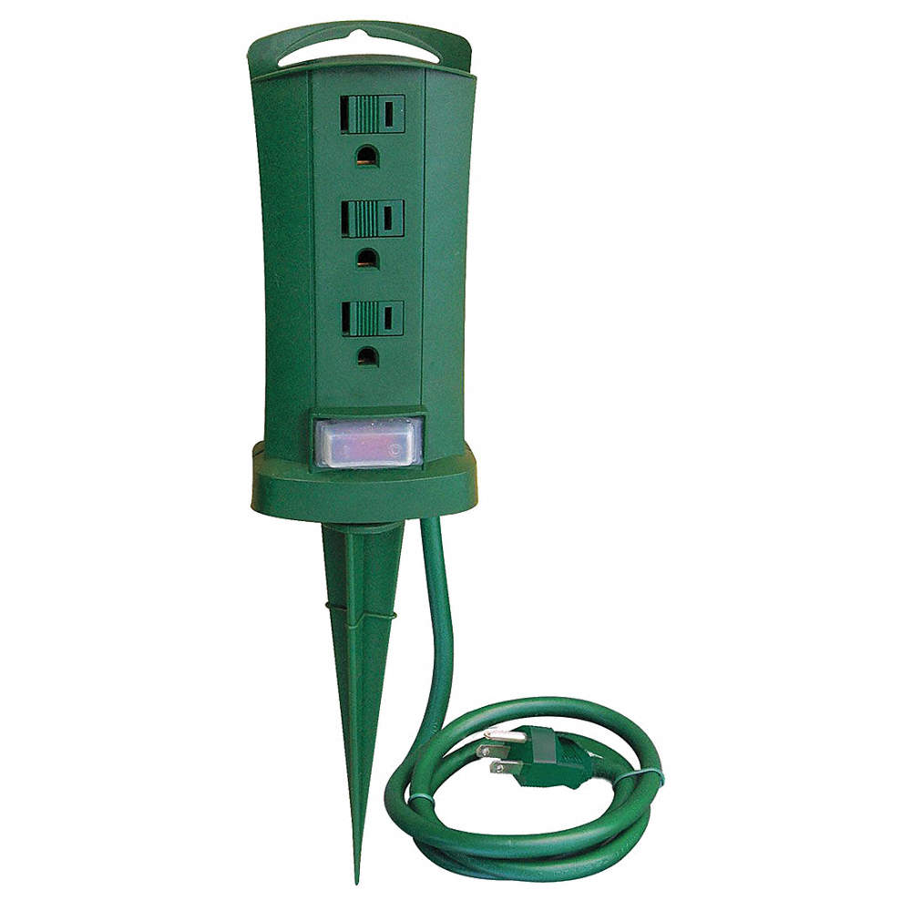 POWER FIRST Ground Stake,3 Outlet,125V - 21RJ25|21RJ25 - Grainger